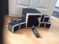TECHNIKA TV SPEAKER SYSTEM, WOOFER BOX, 5 SPEAKERS