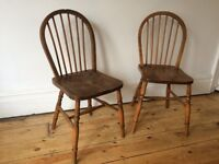 Vintage Antique Country Kitchen Stick Back Chairs x 2 Great Colour and Patina
