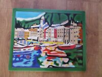 Small brightly coloured enamelled picture, harbour scene, size 16 x 13 inches (41cm x 33)