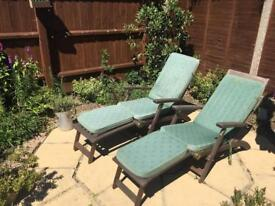 x2 wooden reclining chairs