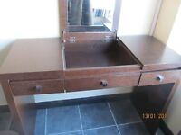 SOLID WOOD VANITY /HALL TABLE /CONSOLE TABLE WITH MIRROR IN GOOD CONDITION