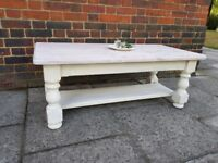 Rustic boho shabby chic solid pine coffee table. Antique white/ lime wax/distressed. LOCAL DELIVERY.