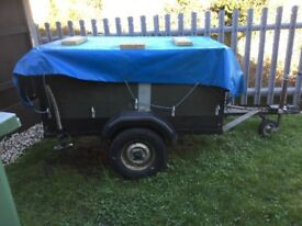 Trailer with towbar, spare wheel, waterproof cover, removable tailgate, heavy duty axle and springs