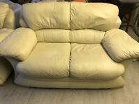 3+2 cream leather sofa