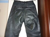 Black Leather Motorcycle Trousers, Size 10