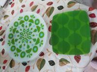 2 patterned glass serving plates by Joseph Joseph