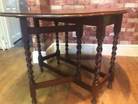 DROP LEAF TABLE WITH BARLEY TWIST LEGS - CAN DELIVER