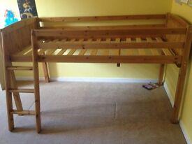 Pine single mid-sleeper bed