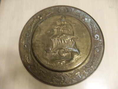 Vintage  Hammered Brass Sailing Ship Wall Plate ELPEC  England