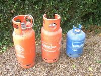 Three Calor Cas bottles, part filled – 2 x 19 kg, 1 x 15 kg