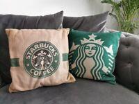 A set of 2 Starbucks icon Cushions