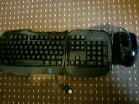 Blue gaming keyboard and colour changing mouse