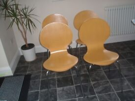 Four Contemporary M & S Beech Chairs For Sale