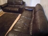 2 x Dfs Brown leather sofas - 2 and 3 seater