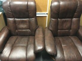 Brown Leather HSL chairs x 2 with matching footstools.