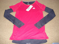 BNWT Adidas ladies double layer climalite top, size XS (8).