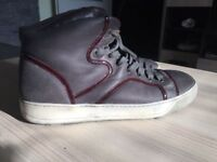 Luxurious Lanvin Hi Top burgundy mens calfskin sneakers, 43 / uk9, RRP £490, priced to sell