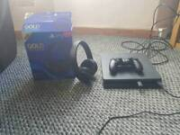 PS4 Slim 500GB with PS Gold Surround sound Wireless headset