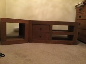 Solid dark wood TV unit and matching cube, from Next Home