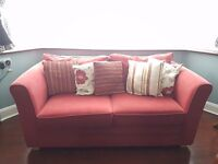 Red cloth, two seater sofabed (doublebed)