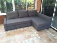 Corner sofa-bed with storage -like new- (need it gone ASAP)