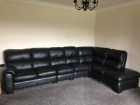Black Leather Corner Sofa Chaise Long, as new, smoke and pet free home