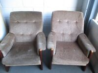 PAIR OF CINTIQUE WOODEN FRAMED UPHOLSTERED ARMCHAIRS FREE DELIVERY