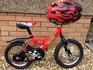 boys/kids raleigh mini bike with helmet and bell 14 inch size suit age 5 years up