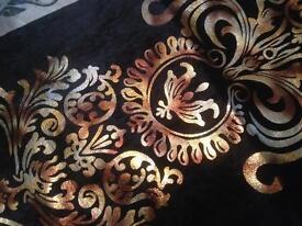 Black flocked damask chenille long table runner( NEW)