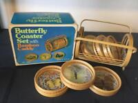 Vintage retro set of collectable kitchen coasters with rack and original box