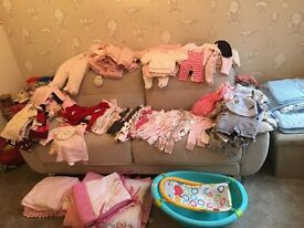 Baby girls baby grows/bedding/cardigans/ jumpers/leggings/shoes/coats All hardly worn or brand new.