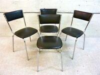 Keron of London vintage designer chrome & black vinyl retro chairs from the 1970's. Ercol Gplan era