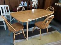 Stunning ERCOL Dining Table. Sold With 4 NON Ercol Chairs.