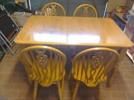 Kitchen Dining Table and four Chairs pine colour in very good condition 4 Foot x 2.5 Feet