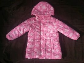 Girls Pink 'Hearts & Stars' Hooded & Padded Coat by Ladybird, Age 2-3 years