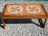 Attractive 1970s, Solid Teak & Tile Coffee/Utility Table