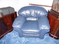 3 piece suite Blue Leather EXCELLENT CONDITION