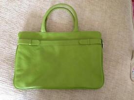 Green leather handbag by Laura Ashley