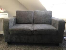 2 seater grey cord sofa