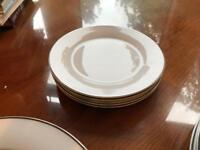 Tesco white china dinner service with silver rim 12 piece set