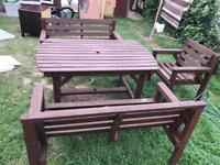 Garden table & 2 benches + 1 chair