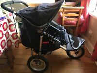 Out 'n About Nipper 360 Double Buggy. In good condition including nearly new rain cover