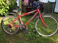Red 15 speed mountain bike shimano gears needs tlc 23 inch wheels