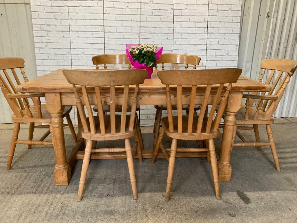Antique Farmhouse Solid Wood Dining Table And 6 Chairs Rustic Kitchen In Buckingham Buckinghamshire Gumtree