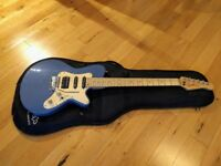 Godin SD, 24 frets, blue with maple fingerboard, great condition, gig bag, whammy bar