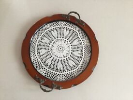 Vintage glass tray, with lace inlay