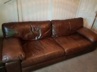 DFS 4 Seater Brown Leather Sofa, Chair and Footstool with storage