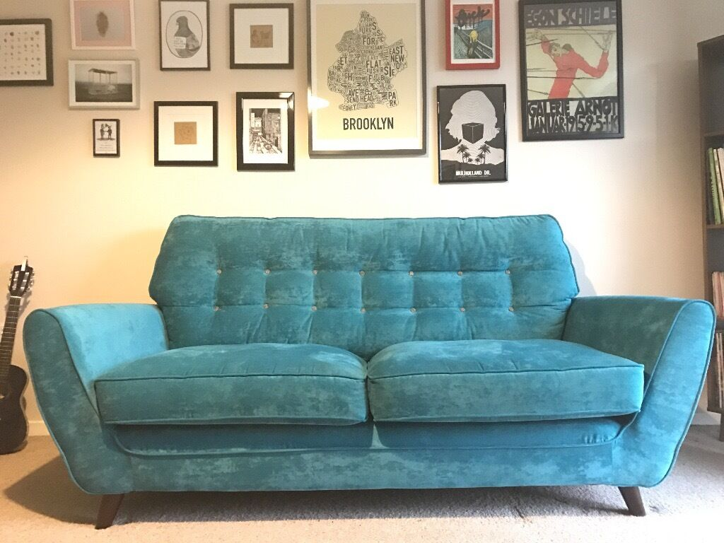 house of fraser linea riva retro teal three seater sofa. Black Bedroom Furniture Sets. Home Design Ideas