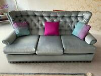 Teal coloured 3 piece suite - 3 seater sofa and 2 armchairs