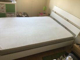 King Size Ikea Trysil bed frame with Hafslo mattress (RRP: £240)